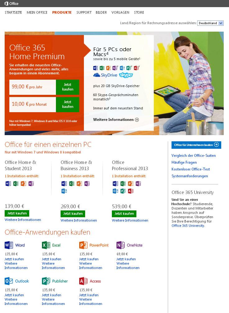 Beispiel Flat Design: Mircosoft Website
