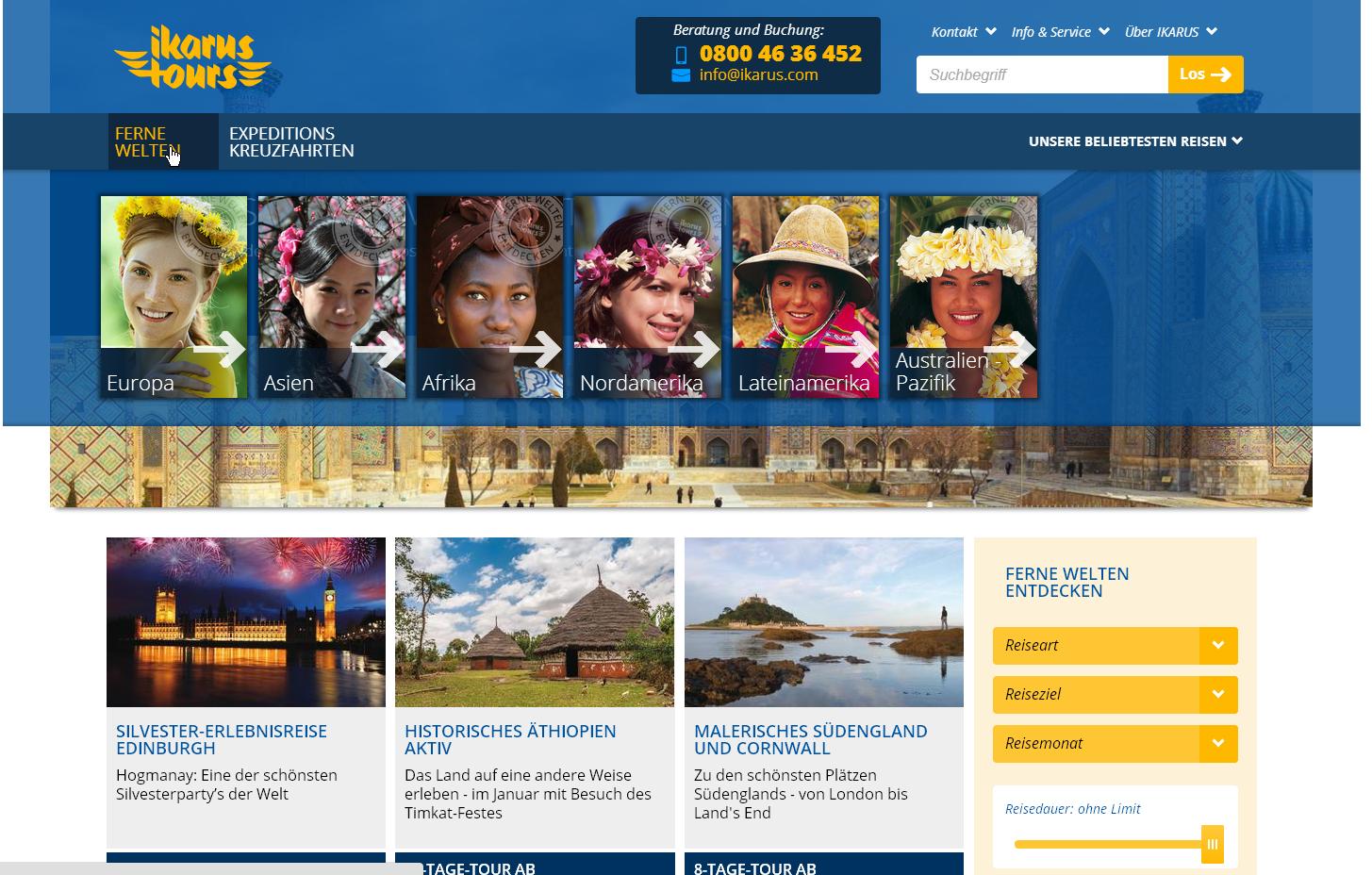 Website Reiseveranstalter - Flat Design und responsive CSS