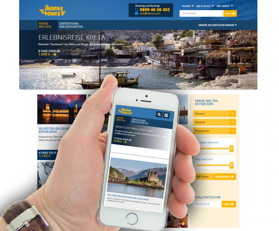Responsive Website für Reiseunternehmen